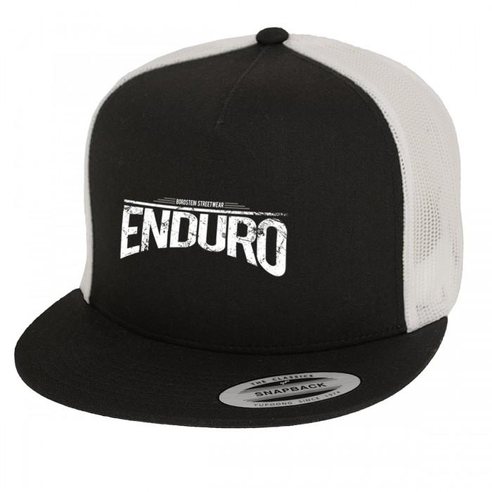 schwarz weisses Trucker Cap mit Enduro Motiv