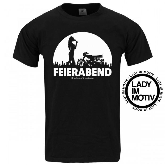 Herren T-Shirt Feierabend Lady Schwarz