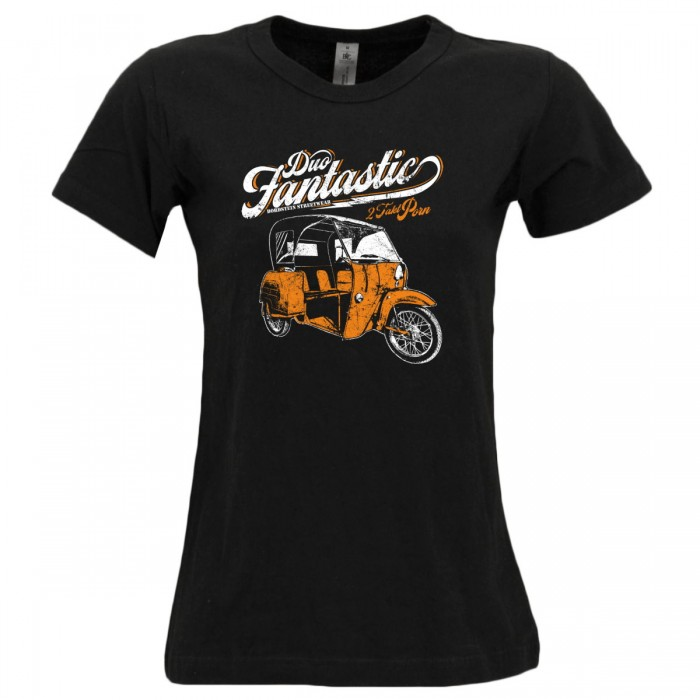 Duo Frauen Tshirt in schwarz mit buntem Motiv.