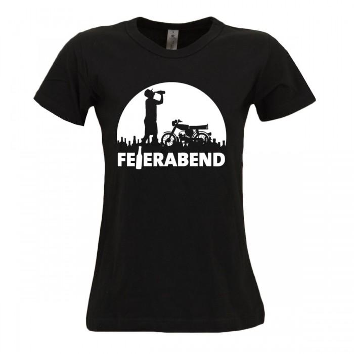 Bordstein Damen T-Shirt Feierabend Schwarz