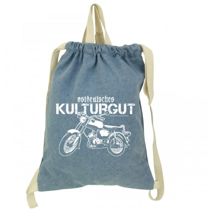 Denim Gymsac mit ostdeutschem Kult-Moped