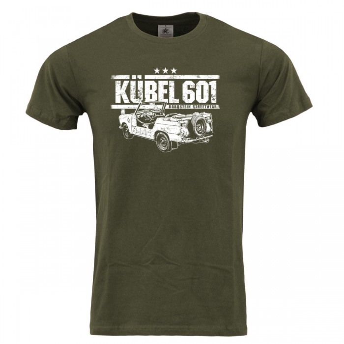 Shirt in olivgrün mit weissem Trabi Kübel Motiv