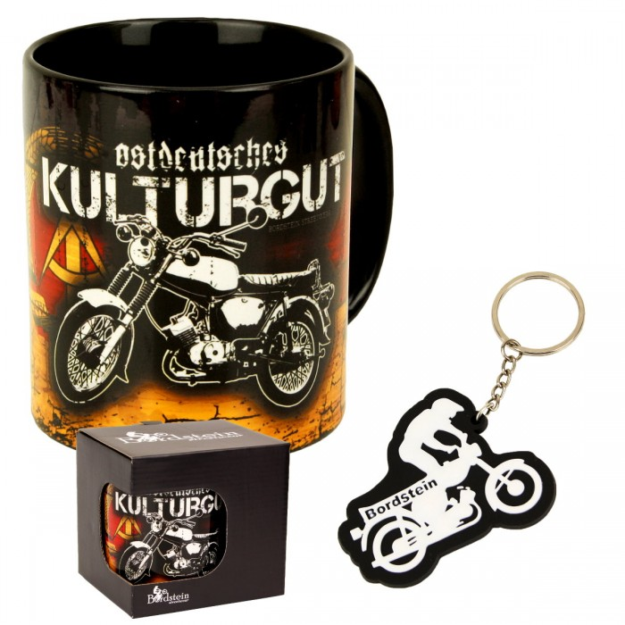 Bundle Tasse ostdeutsches Kulturgut und Wheelie Schlüsselanhänger
