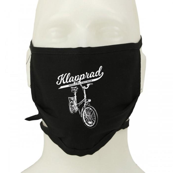 Klappi Fahrrad Motiv auf schwarzer Maske