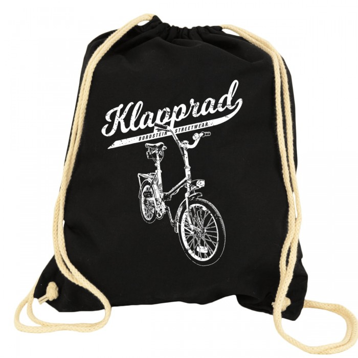 Klapp Fahrrad Kult auf klassischem Turnbeutel Rucksack