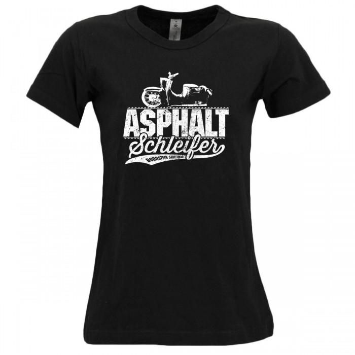 Bordstein Damen T-Shirt Asphaltschleifer Schwarz