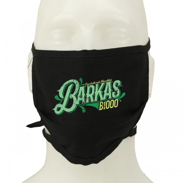 Barkas Schriftzug auf Mundschutz