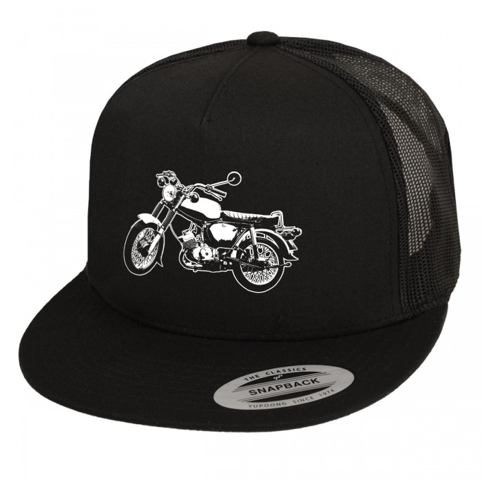 Schwarzes Snapback Cap im Trucker Style mit Simme Motiv.