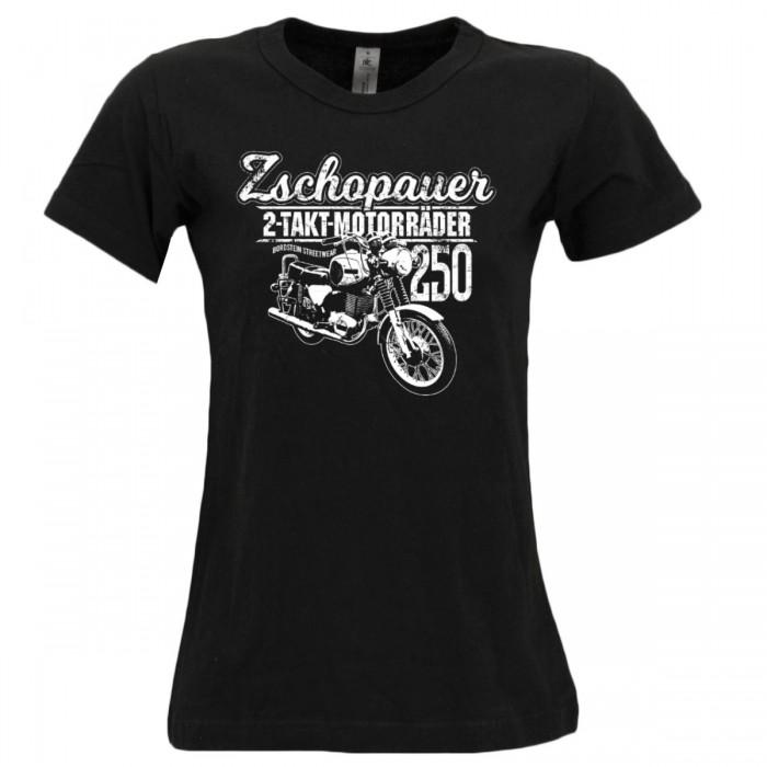 Bordstein Damen T-Shirt Zschopauer 2 Takt Motorräder TS250 Schwarz