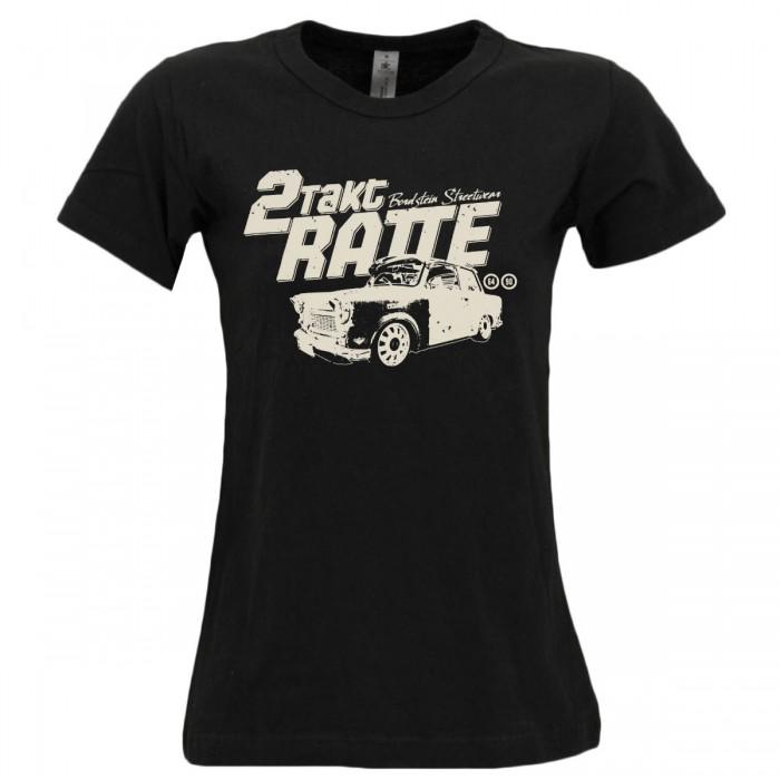 Bordstein Damen T-Shirt 2 Takt Ratte Schwarz